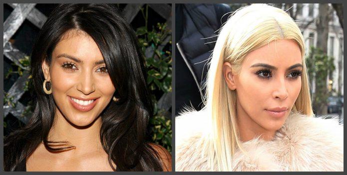 Нос Ким Кардашьян до и после пластики