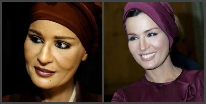 Шейха Моза до и после пластики