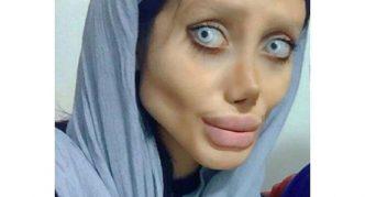 Сахар Табар, фото с голубыми линзами и в платке