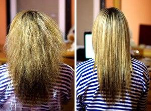 Кератиновое восстановление волос фото до и после